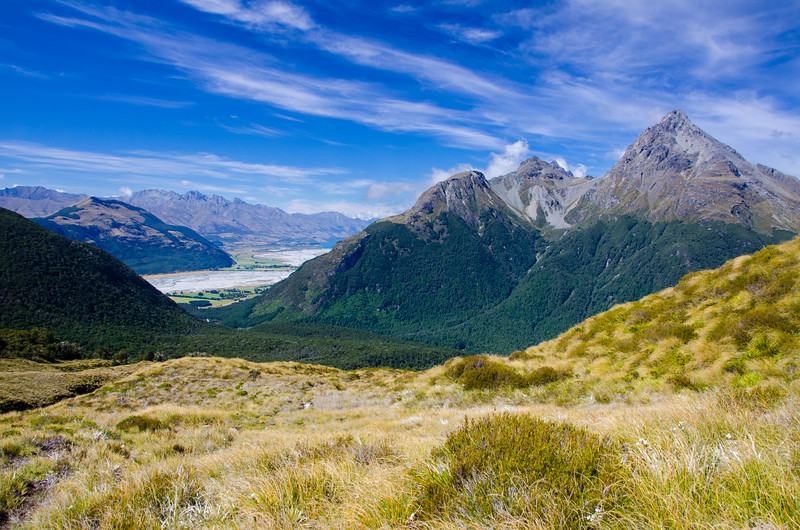 Looking back toward the lower Dart Valley and the head of Lake Wakatipu from Sugarloaf Pass