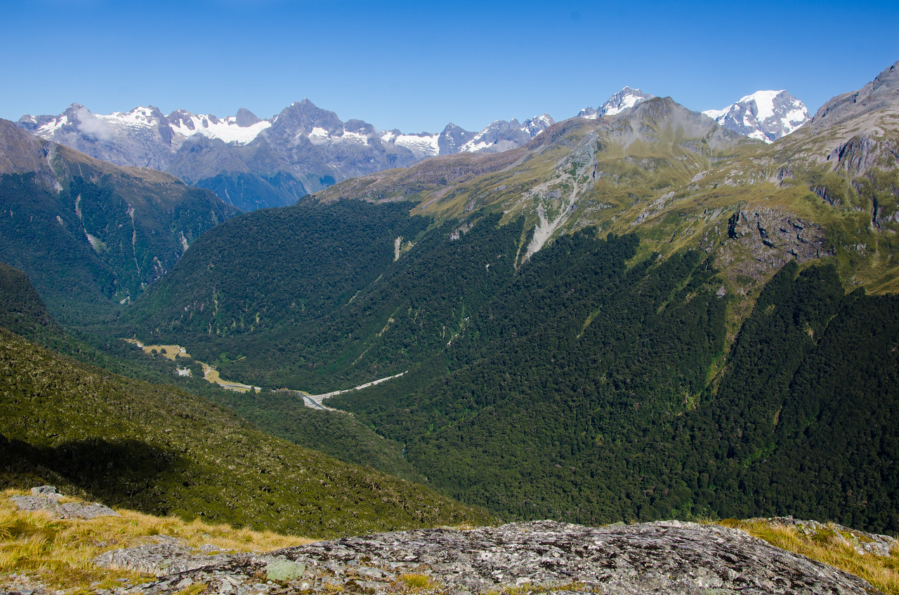 The view out toward the Darrans from Park Pass.  Mt Tutoko, the tallest in Fiordland, is poking up on the right.