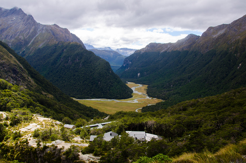 The village of Routeburn Falls and Routeburn Flats beyond.