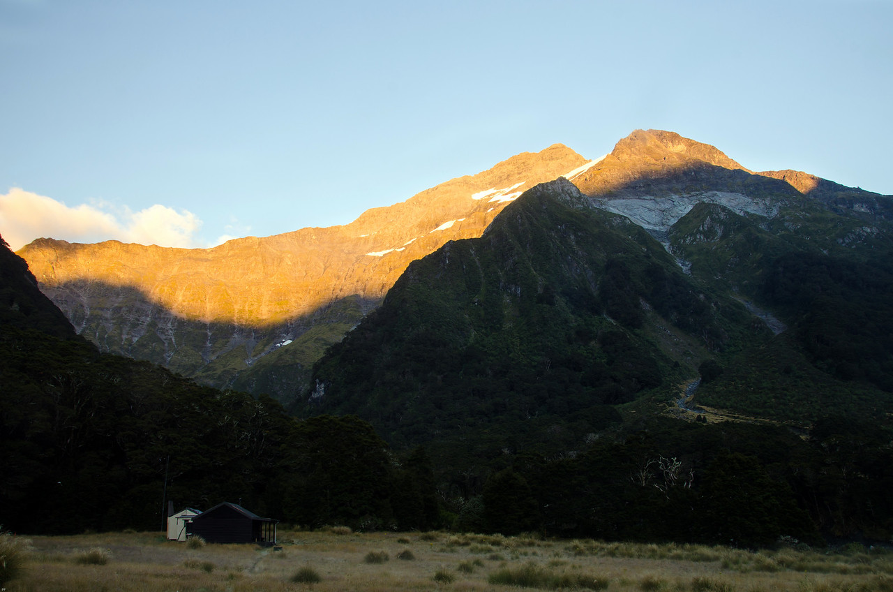 Some alpenglow behind Top Forks Hut