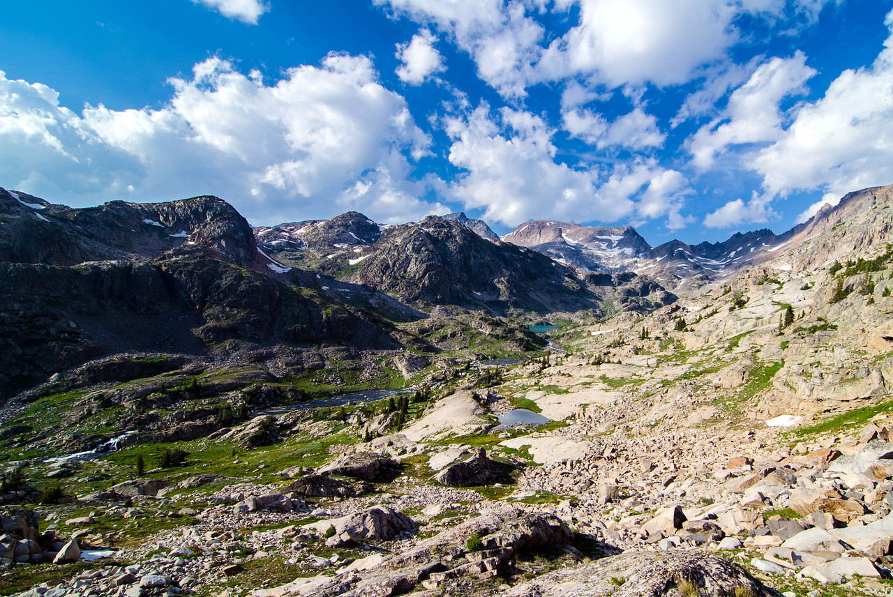Looking up the Sierra Creek Valley to Flat Rock Lake from a little saddle above Pleiades Lakes.