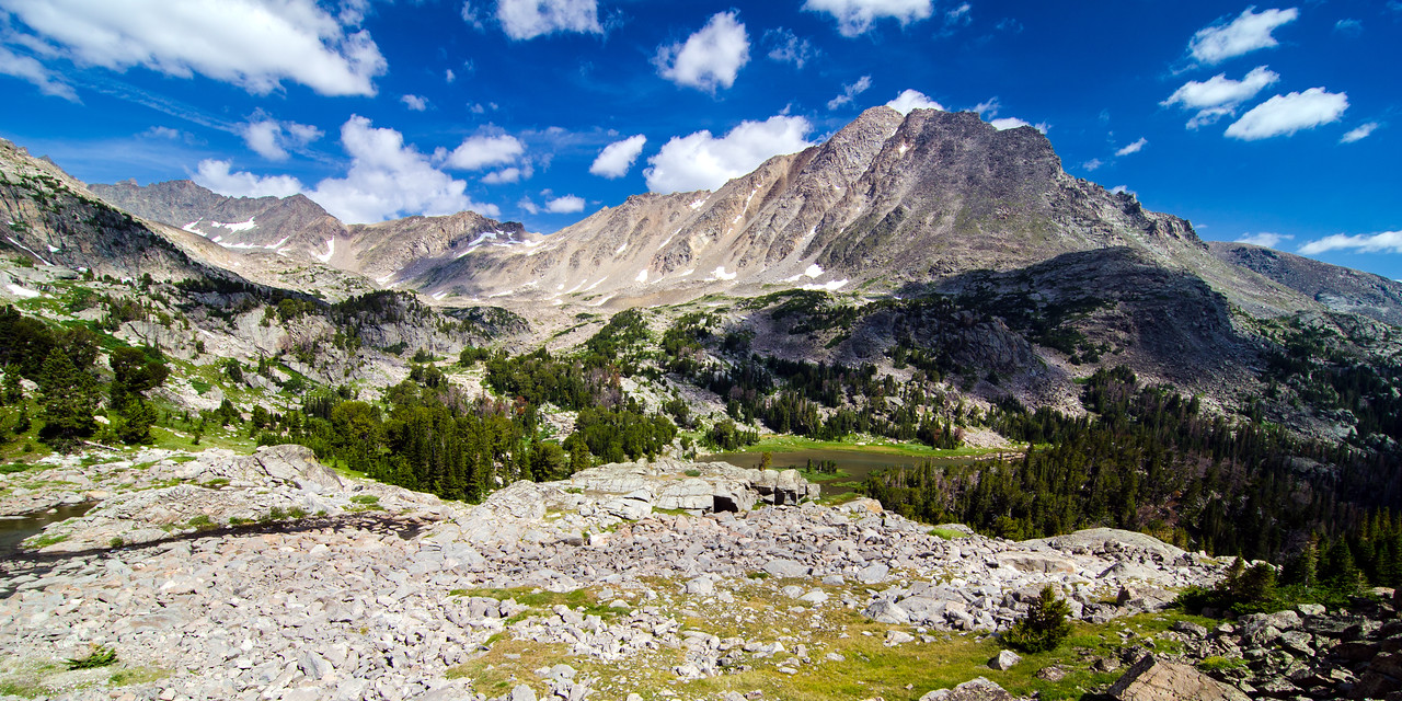 Upper Lake Fork Basin.  Looking back at Whitetail Peak from the route to Sky Pilot Lake.