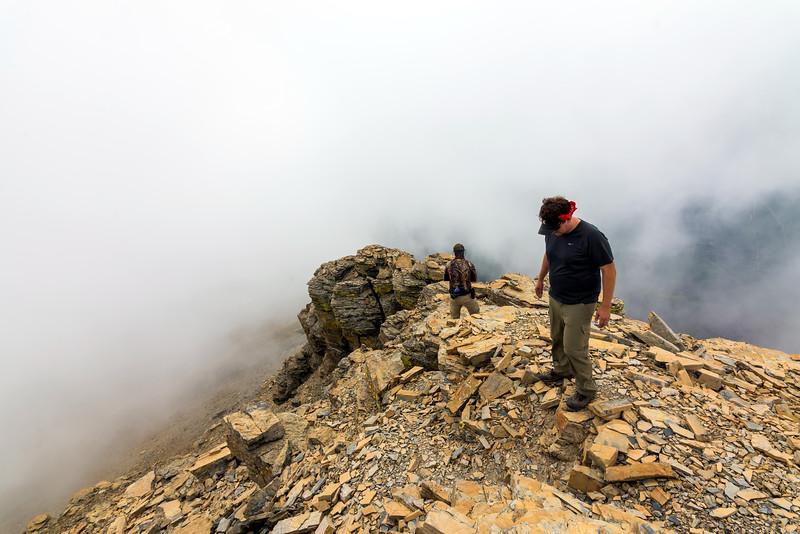 Jim and Steven on Flinsch's socked in summit ridge