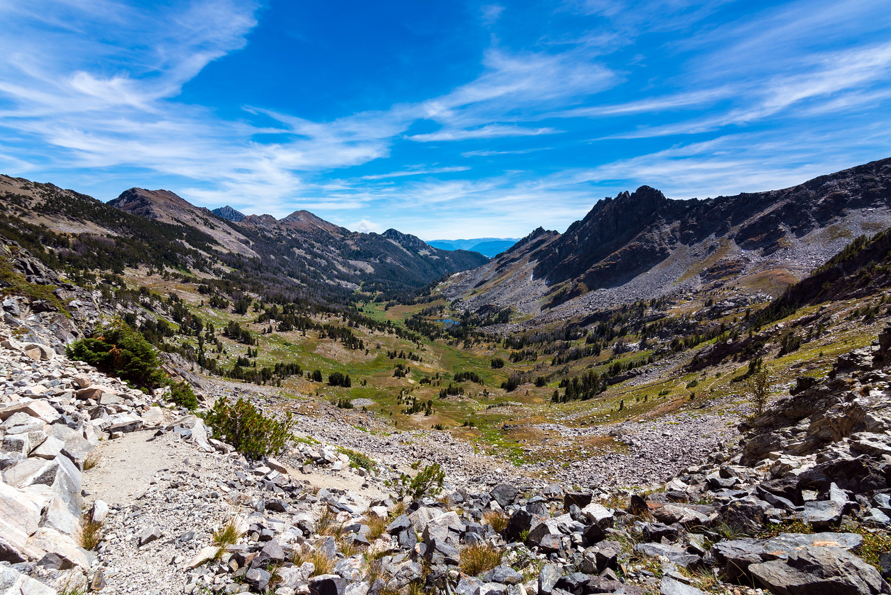 Looking into Bear Basin from the saddle between it and South Fork Spanish Creek.