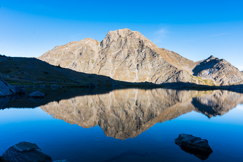 Gallatin Peak reflecting in Chilled Lake