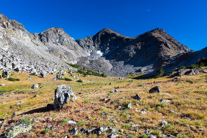 Looking back to the head of North Fork Hellroaring Creek.  Summit Lake Saddle is on the right.