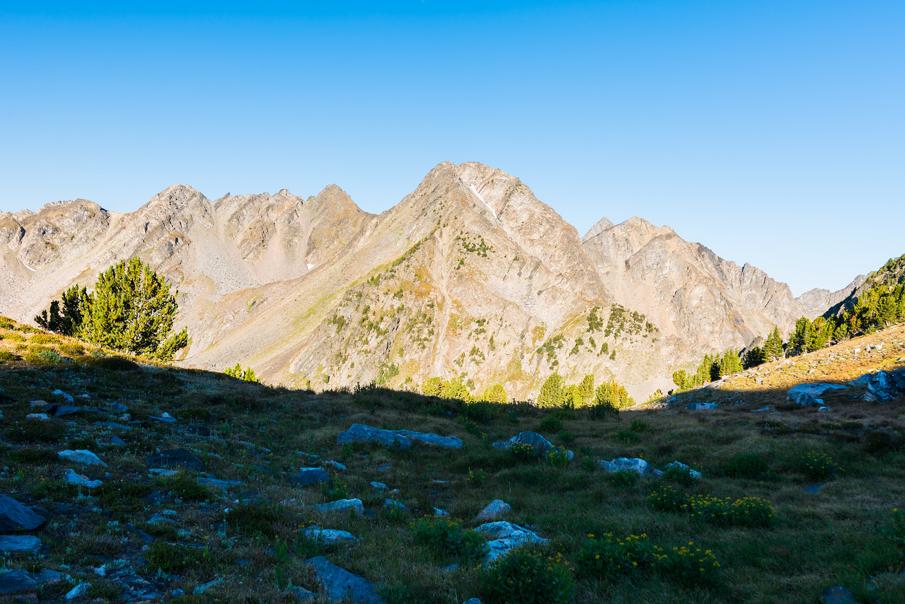 Looking back west from near the Bear-Hellroaring Saddle.  Beehive Peak is poking up on the right