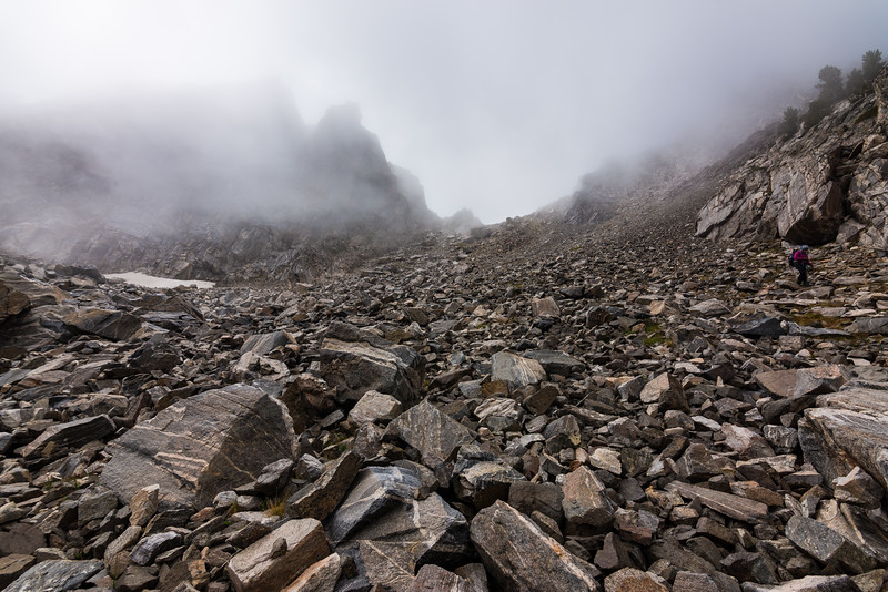 Looking back up the steep talus toward our saddle