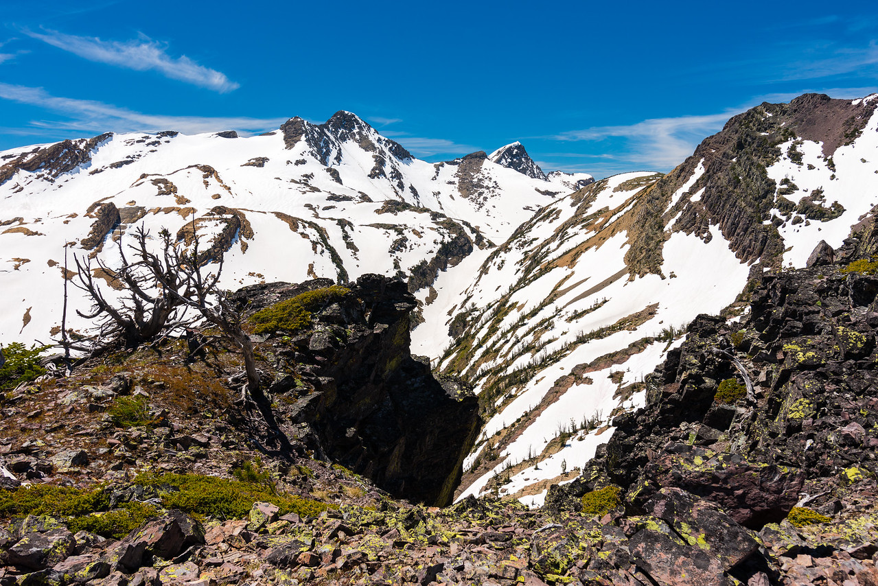 Glacier Peaks and Lone Tree Pass.  Lake of the Clouds is still frozen, but visible beyond the notch.