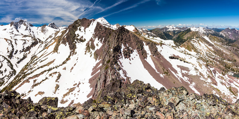 Looking west at the high peaks of the Missions.  Panoramic Peak is in the foreground.  McDonald Peak (the highest in the Missions) is poking up behind it.