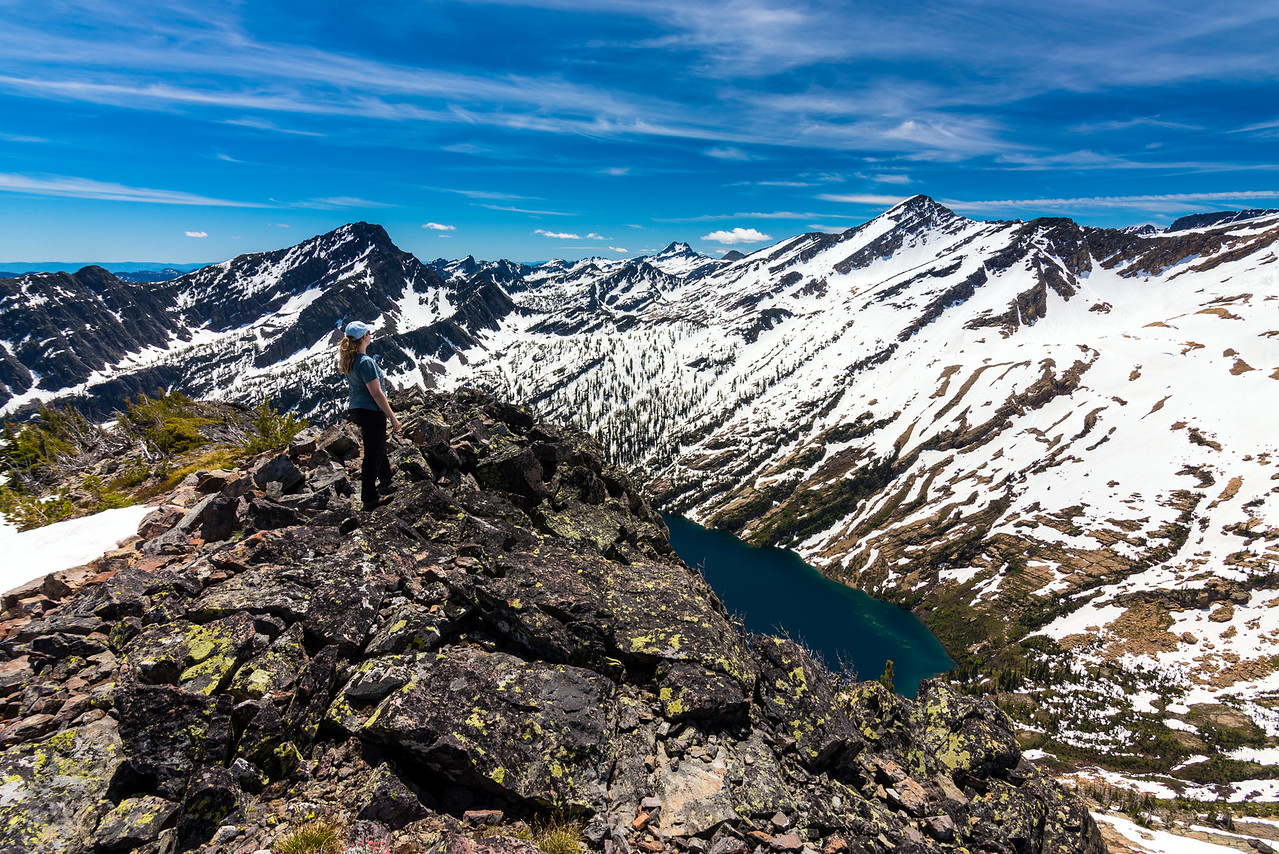 Tara looking south from the summit.  Daughter of the Sun, Mountaineer Peak, and the head of Turquoise Lake are visible in the foreground.  Gray Wolf and East St Mary Peaks can be seen in the background.