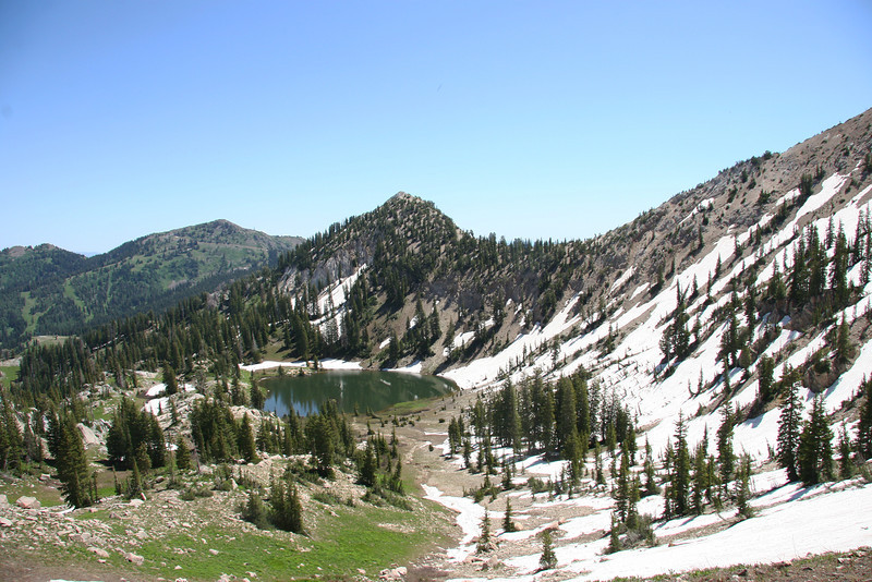 The fourth lake is visible from the pass, Lake Catherine. The trail up goes right by it.