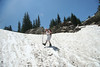 July 24th snowfield, Carrie mastering the heel kick.