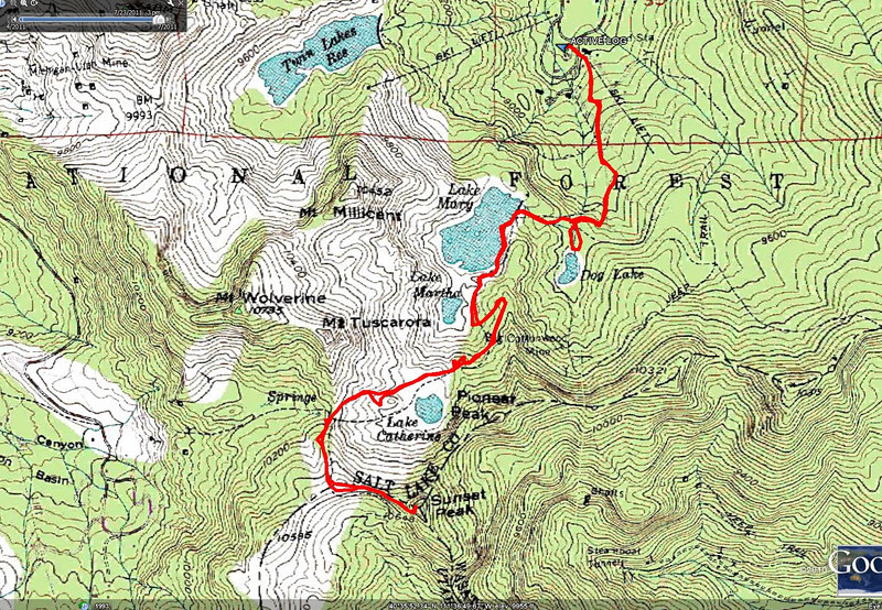 Here is the topo map, double click these images to enlarge them...this hike starts from the Mt. Majestic lift, at the Brighton base lodge, aprox 8770 ft. above sea level, a high starting point. Pass 4 lakes, continue to Catherine's Pass above Alta, and on to Sunset Peak, about 3.75 miles from the start. ( 10,600 ft).