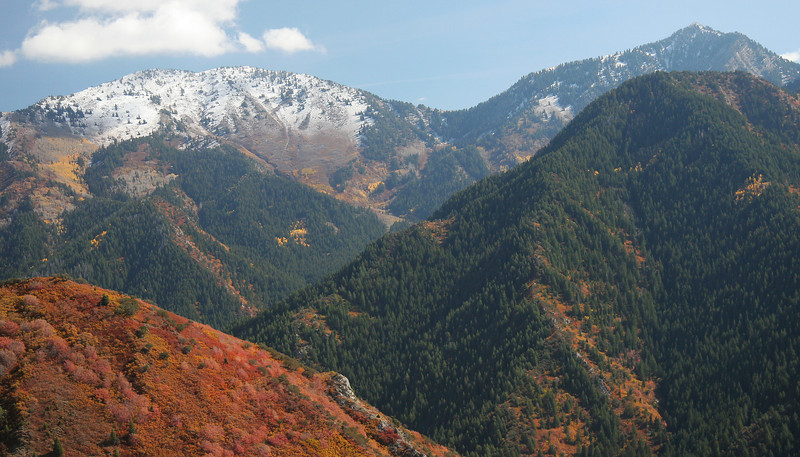 Gobblers Knob, Baker Pass and Mt. Raymond from ridgeline across Millcreek Canyon. Taken from aprox 7600 ft .