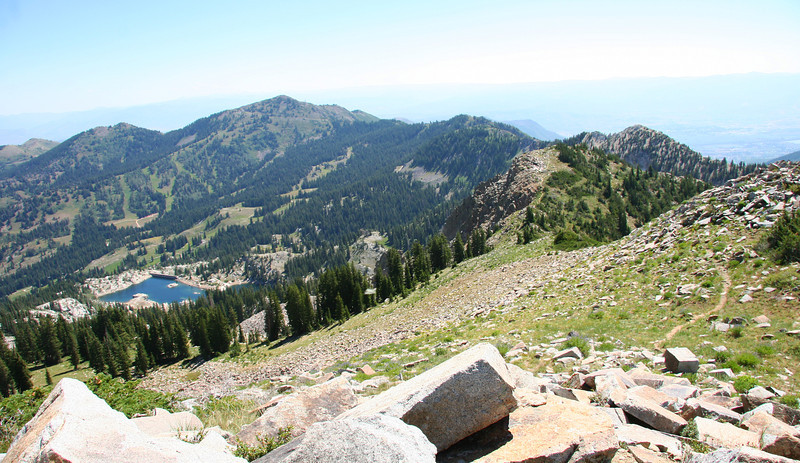 Lake Mary and Pioneer Ridge above Brighton, UT as viewed from the peak of  Mt. Wolverine at about 10,800.....