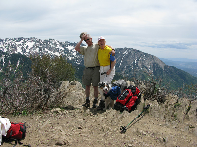 Carrie, Maizy Mae, and me on the peak. Grandeur Peak June 18 2011. 8200 ft above sea level.