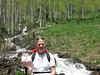 Carrie taking a break. I make her carry most of the water, food, and anything heavy, so I can take pictures.This was on the Mill D trail to Dog Lake. We were surprised at the velocity and volume of the stream, which made for a delightful days work. ( late June, record 2011 snowyear).