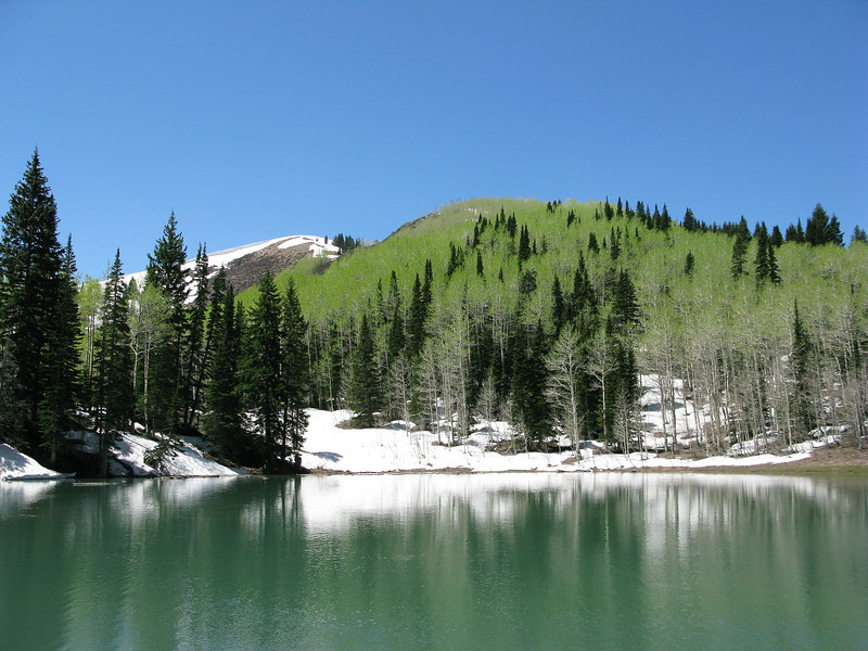 World famous, Dog Lake.  8450 Ft. Above Sea Level. An ez 2.8 miles up Mill D trail. ( 5.6- 6 round trip).  No dogs allowed, it is watershed for Salt Lake City. The Canyon Patrol and Forest Service, do take the rule seriously! Not even in your car on the way up. OK with me, but too bad for Maizy, the Austrailian Shepard alpine hero rescue dog. She always has a flask of whiskey for emergency first aid, when in Mill Creek Canyon.<br /> A pretty day here, still lots of snow late June 2011