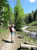 Carrie, wondering if there is trout in there, Mill D, Big Cottonwood Canyon. Wonderful hike along the stream, multiple destinations possible.