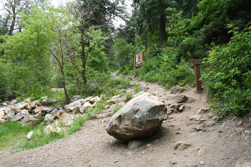 The actual trailhead....( about 1/4 mile up the access road). Starts a climb right off, rocky but pleasantly along the feeder stream. We went in late July 2011. ( I had been here years before a few times.)