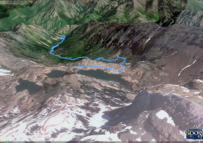 """Aerial view, with our GPS track. Medium difficult but immensly rewarding scenery. Very crowded trail, suggest weekday.<br /> A """"10"""" landmark hiking trail, not to be missed!!!!!!!!!!!!!1"""