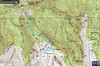 GPS Track of our hike, on Google Earth with topographic overlay. This is our actual path. Satellite view on last page. With our detour to Lake Florence and Lake Lillian after Lake Blanche, about 8 miles round trip. ( the walk from the parking, to the trailhead, is considerable) The guidebooks call it 6 miles to LB, but it will be 8 adding a half mile from your car doubled for the return and a half to Lake Florence, also doubled for the return. Don't say I didn't warn you!!  2720 ft Elevation gain from trail head to Lake Blanche, at 8920 ft above sea level. It is a rocky trail with some noticeable uphill involved, if you are not in good shape seek a different hike.