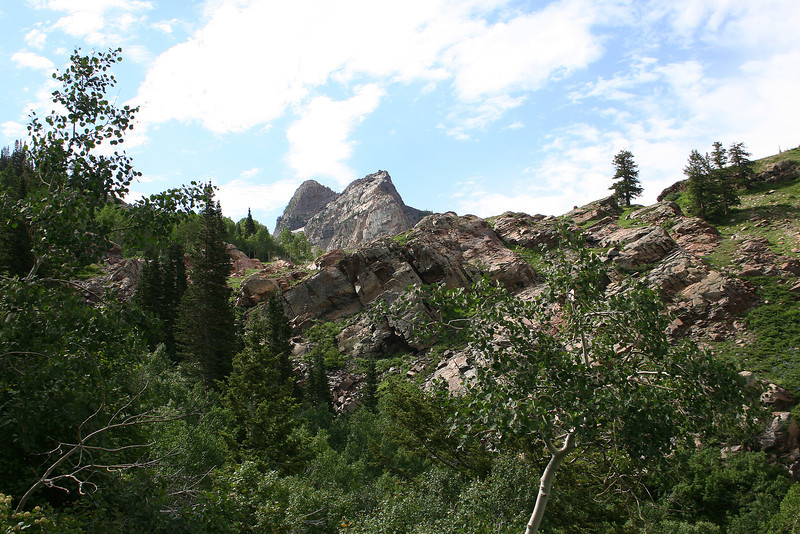 First glimpse of Sundial Peak, about 2.4 miles up...
