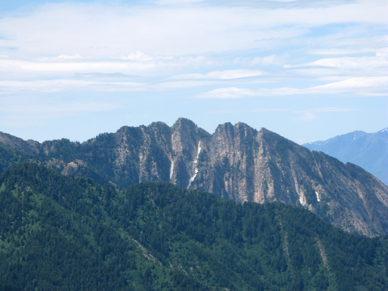Backside of Mt. Olympus, from the peak on telephoto lens, looks South...