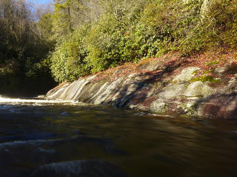 Rock wall along the Tuckasegee River
