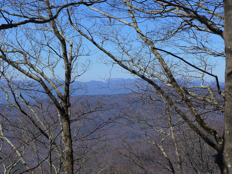 """Photo taken from Little Sassafras Peak.   The distant landform in the center of the photo is Whitesides Mountain, a full 20 miles away as the crow flies.  Thanks to <b><u><a href=""""http://mtnimages.smugmug.com/"""" target=""""_blank"""">Bernie</a></u></b> and <b><u><a href=""""http://www.flickr.com/photos/9067009@N03/"""" target=""""_blank"""">Andy</a></u></b> for the ID."""