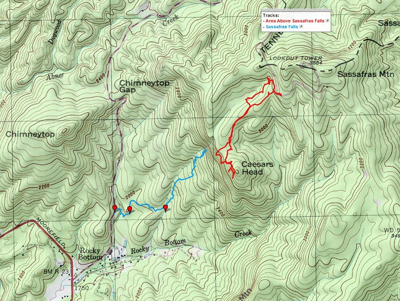 "<h1>GPS Track</h1>...of my hike to the area above the waterfall (red track).   The blue track is from my hike two days earlier to the waterfall for reference.     <u><b><a href=""http://www.brendajwiley.com/gps/waterfall_on_tributary_of_rocky_bottom_and_area_above.html"" target=""_blank"">Interactive map here.</a></b></u>  <u><b><a href=""http://www.brendajwiley.com/waterfall_on_tribuatary_of_rocky_bottom_creek.html"" target=""_blank"">See my webpage on the hike to the waterfall here.</a></b></u>"
