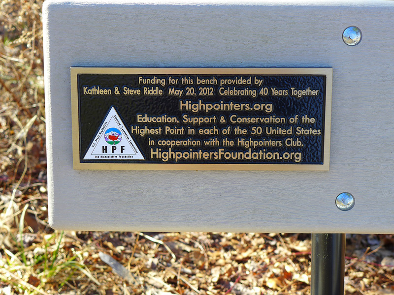 <h1>Plaque</h1>...on the bench at the top of Sassafras Mountain.