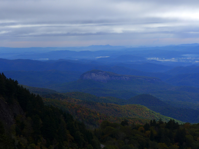 <h1>View from Chestnut Knob Overlook</h1>Looking Glass Rock is visible in the center of the photo.