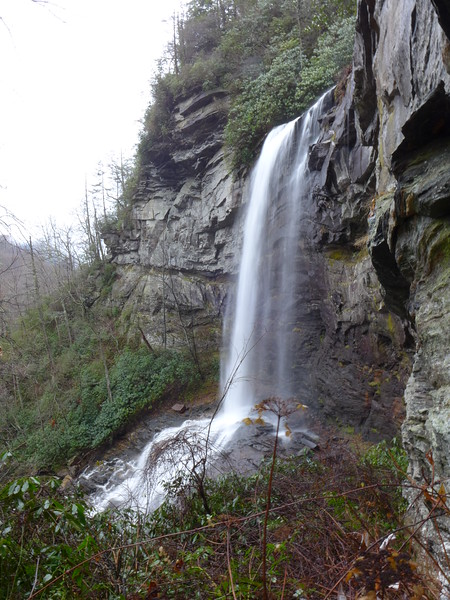 "<h1>Raven Cliff Falls Main Drop</h1>This vertical drop is the middle ""third"" of this 400+ foot waterfall in South Carolina."