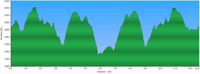 Elevation Profile for Out and Back hike to Bearcamp Creek Falls