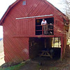 Darrin in the upper section of the barn