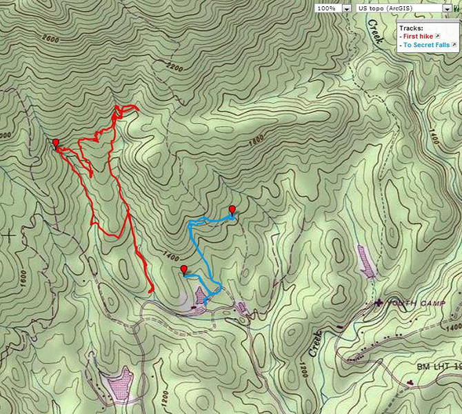 "<h1>Map</h1>...of my GPS track of the hike shown in this gallery.  <u><b><a href=""http://www.brendajwiley.com/gps/asbury_falls.html"" target=""_blank"">Interactive map here</a></b></u>."