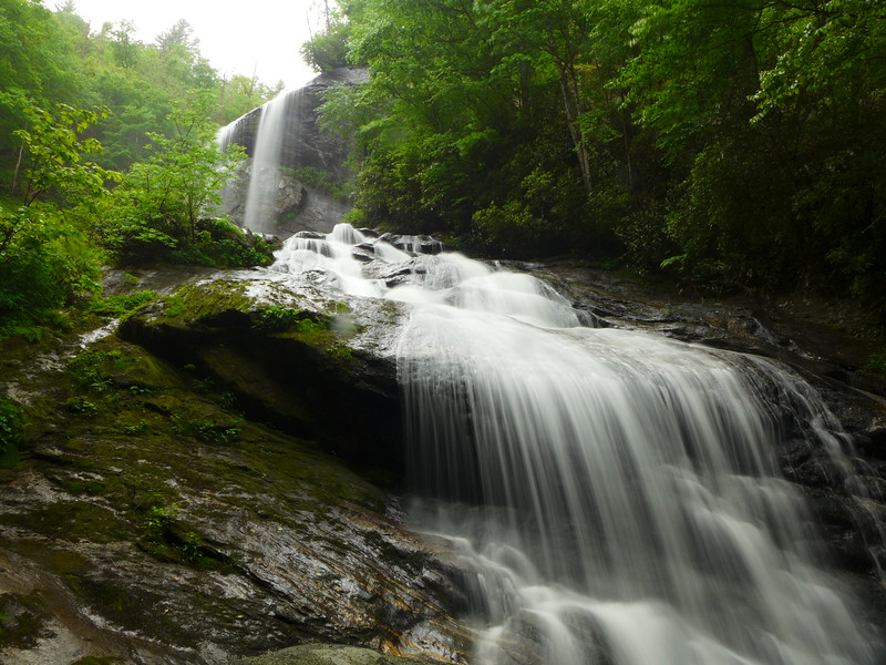 First glimpse, from downstream, of Flat Creek Falls