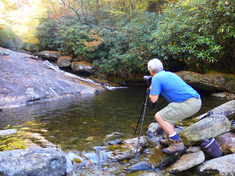 <h1>Andy</h1>...at work by one of the first cascades we came to along Flat Laurel Creek.