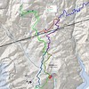 "Map showing the route of my two days of wandering along the old roadbeds, as well as the FHT for reference.  <u><a href=""http://brendajwiley.com/gps/fs_road_wander.html"" target=""_blank"">Interactive map here</a></u>."