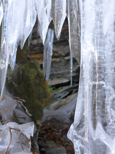 Peeking through the icicles into the cave
