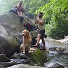 Scott (on the Rock), Kyle, and Ziggy (canine)