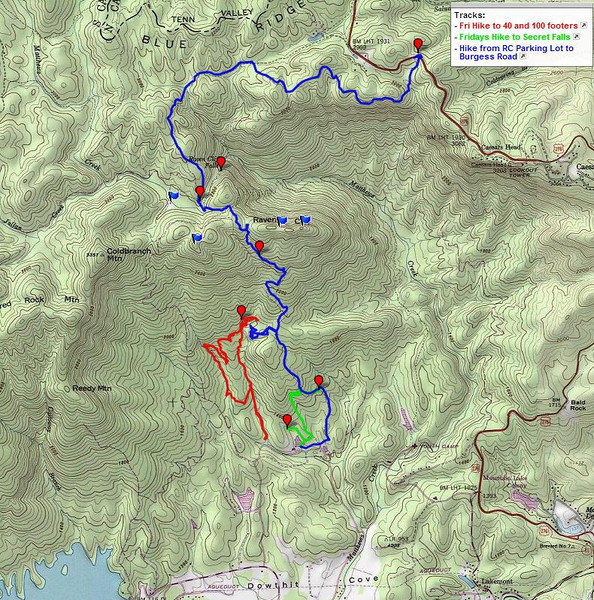 """<h1>GPS Track</h1>...of the first (foggy day) hike.  The blue track is the trek down from Naturaland Trust Trail.    Also shown are the two tracks from our hike the week before looking for waterfalls in the area.  The red track the loop we'd done looking for the 100 footer (which we found) and the 40 footer (which we didn't).  The green track goes to Secret Falls.  All the waterfalls are on Asbury Camp's property.  If the camp is not in session, they are generally happy accomodate hikers.   Give them a call beforehand to request permission:   864-836-3711.   <u><b><a href=""""http://www.brendajwiley.com/gps/raven_cliff_to_burgess_rd.html"""" target=""""_blank"""">Interactive map here</a></b></u>.  ."""