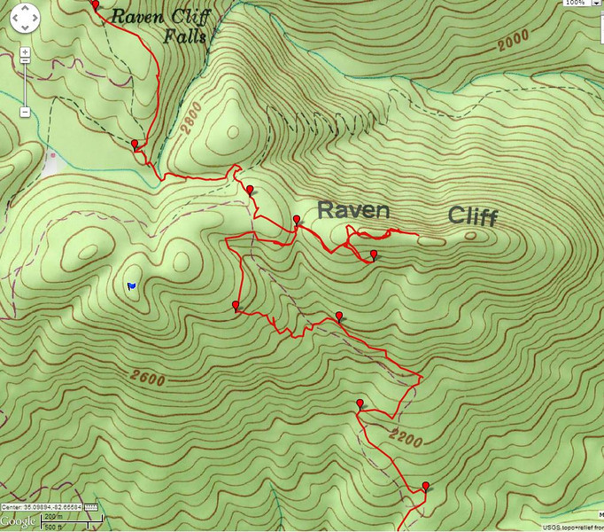 """<h1>Close up of the Raven Cliff Ridgeline portion</h1>....of the GPS track of this hike.  For more info, please see <b><u><a href=""""http://www.brendajwiley.com/raven_cliff_burgess_rd.html"""">my webpage on this hike here</a></u></b>.  <b><u><a href=""""http://www.brendajwiley.com/gps/rc_burgess_lg.html"""">Interactive map here</a></u></b>."""