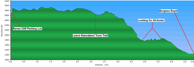 """<h1>Elevation Profile of 1st hike</h1>This is the elevation profile of the hike done first, on the foggy day.  Darrin and I did not go out to Raven Cliff's Ridgeline, but did spend about an hour looking for a waterfall that was supposed to be on one of the streams.  You'll notice the section between mile 4.7 and mile 5.7, labeled as """"Looking for 40 footer"""".   Darrin and I left the old logging road at that point to explore the stream, but we were unable to find the waterfall.    On this shot, the terrain of that one mile of looking doesn't look tough at all.  Actually, it was all straight up and straight down some steep sections of hllside.   See the next pic."""