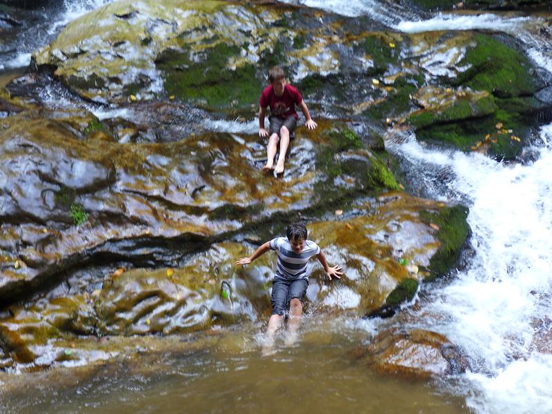 Sliding down the slick rocks