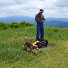 On Big Hump, a solo backpacker and his little beagle Jesse joined us for lunch and the view.<br><br>This photo shows John and the beagle.