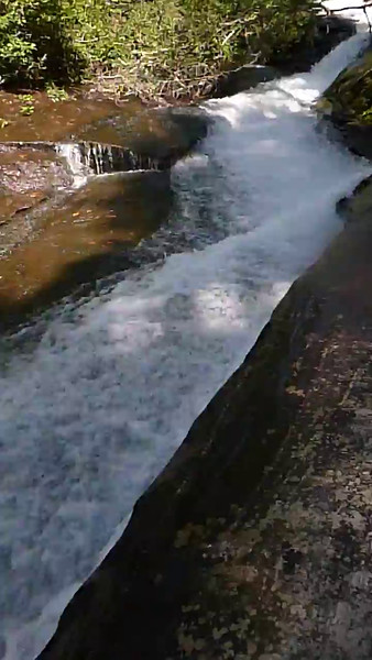 19 second video showing the river racing down the chute.
