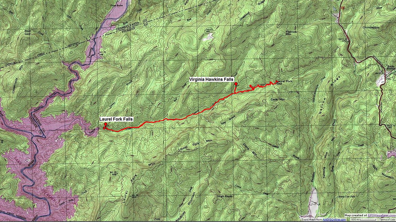 "<h1>Map of GPS Track</h1>...to Laurel Fork Falls.   <u><b><a href=""http://www.brendajwiley.com/gps/laurel_fork.html"" target=""_blank"">See this page for an interactive map</a></b></u>."
